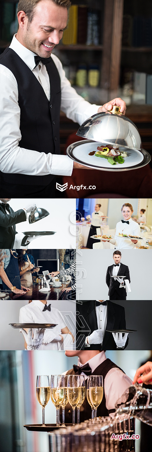 Waiter of restaurant in uniform professional service