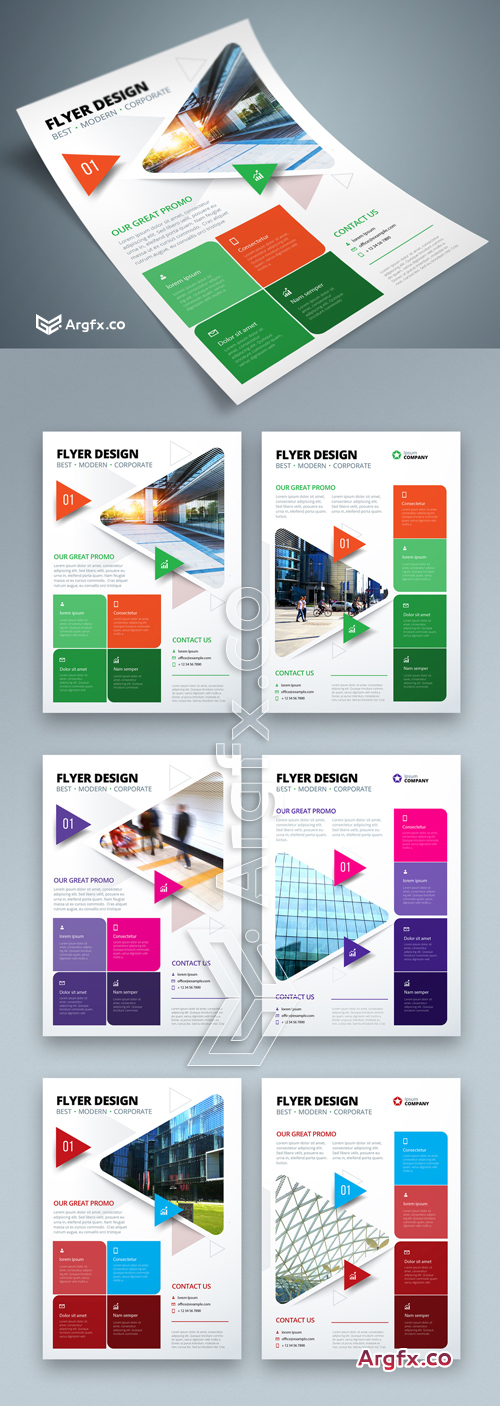 Colorful Business Flyer Layout with Triangle Elements 267840388