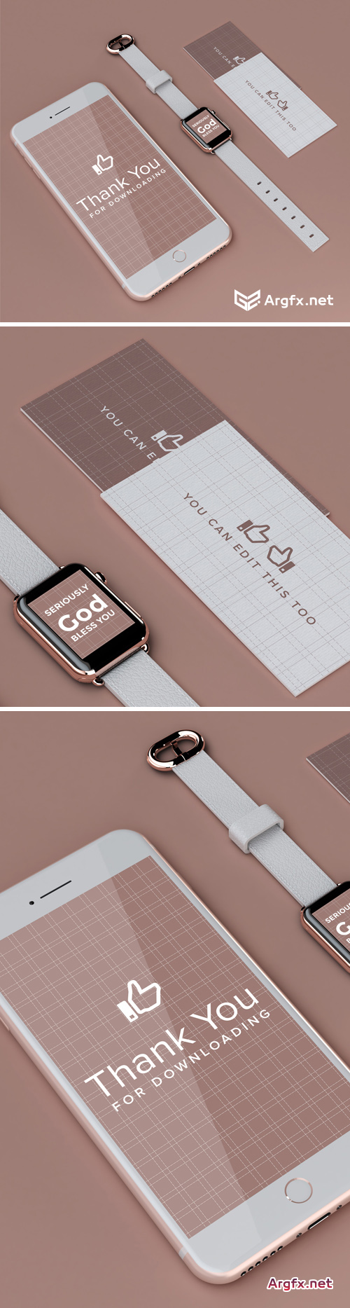 IPhone, Watch And Business Card Mockup