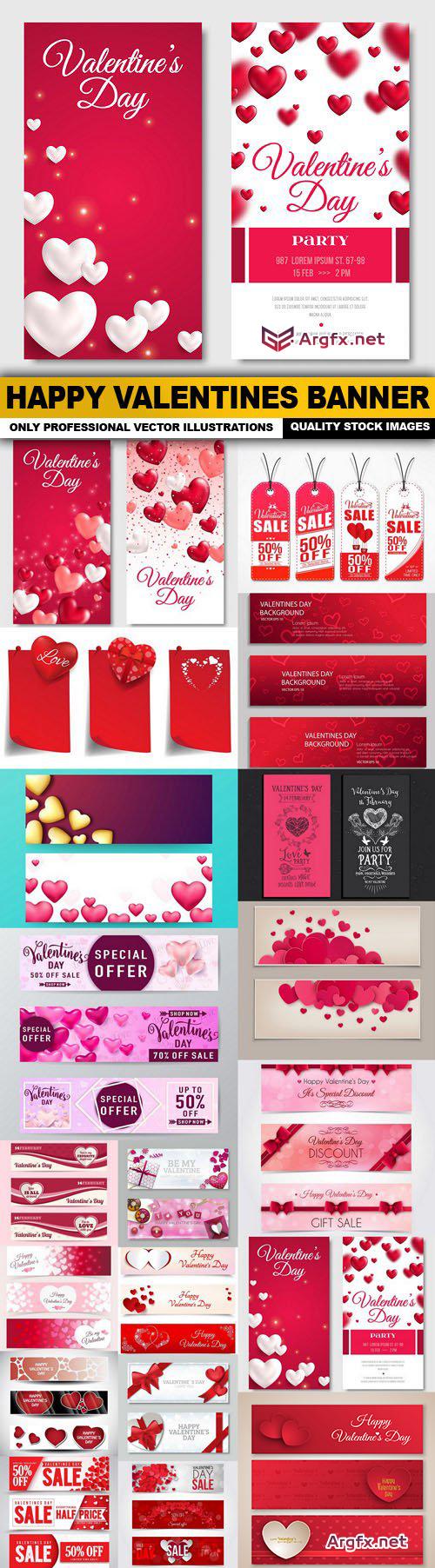 Happy Valentines Banner - 24 Vector
